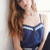 Lace-Trimmed Chambray Cami
