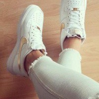 Tagre NIKE Women Men Running Sport Casual Shoes Sneakers Air force low help shoes White golden