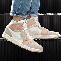 Air Jordan 1 Nike Contrast casual cultural basketball shoes beige white pink