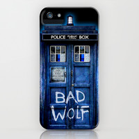 Tardis doctor who with Bad wolf graffiti apple iPhone 4 4s, 5 5s 5c, iPod & samsung galaxy s4 case by Three Second