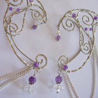 Pair of Silver and Amethyst Elf Ear Cuffs with Chain accents, Ear Wraps, Elven Ear, Elf Ears, non pierced earring, Fairy, Renaissance, Elven