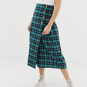 Glamorous midi skirt with pleated side in check | ASOS