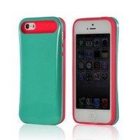 Hot Pink/ Turquoise Hard Cover on Silicone Case for Apple iPhone 5