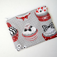 Zipped Pouch in Black and White Cupcake Print - Makeup Bag - Cosmetics Purse - Pencil Case - Travel Pouch - Bag Organiser - Clutch