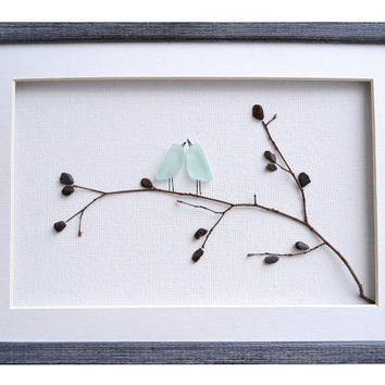 Sea glass art love birds, Valentines Day gift for wife/ girlfriend, Blue birds on a branch, Romantic couples gift, Love wall art, Pebble art