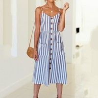 Savannah Striped Sun Dress - Blue