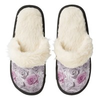 Pink Roses Fuzzy Slippers