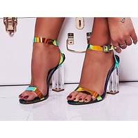 Fashion women's sandals in summer with open toes and coloured thick heels