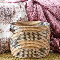 Large Straw Basket, Black