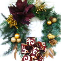 "Christmas Wreath ""Burgundy Blooms"" Wreath, Home Decor, Christmas Floral, Wreath Decor, Christmas Floral, Winter"