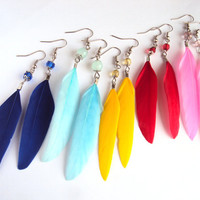 Small Feather Earrings - Goose Feathers Hook Earrings - Gift for Her - Ukrainian Jewelry - Blue, Yellow, Red or Pink Earrings