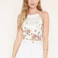 Crochet-Front Floral Cami