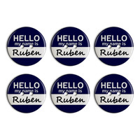 Ruben Hello My Name Is Plastic Resin Button Set of 6