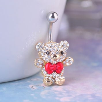 Bow Tie Bear Belly Button Ring