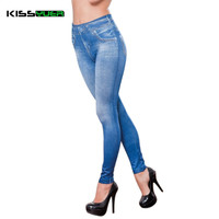 KISSyuer Jeggings Jeans Leggings Women Legging Jean Blue Black Ladies Jeggins with Faux Pocket Denim Skinny Legging Pants KL0054