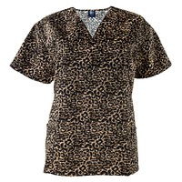 Cheetah Print V-Neck Women's Scrub Top