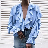 Long Sleeve Ruffles Women Blouse Shirts Chiffon Blouses Tops Female White Blusa Mujer