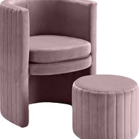 Selena Pink Velvet Accent Chair and Ottoman Set