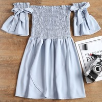 Off Shoulder Smocked Mini Dress