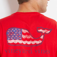 Wave Flag Whale Graphic Pocket T-Shirt