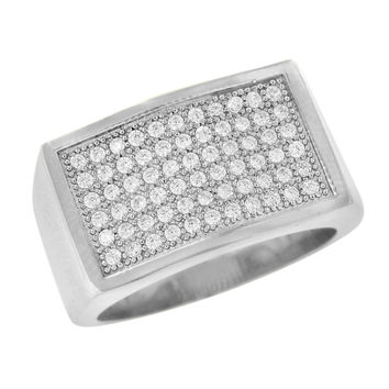 Mens Engagement Rings Stainless Steel Wedding Simulated Diamonds Pave Set Classy