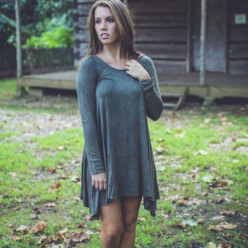 Mineral Wash Dress in Olive