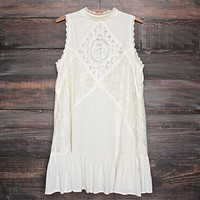 Final Sale - Mock Neck Lace Dress in Cream