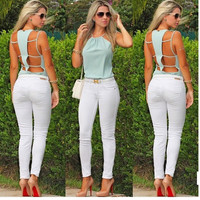 Hollow Out Spaghetti Strap Green Summer Backless Tank Top = 5839451329