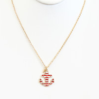 Red and White Sail Away Necklace