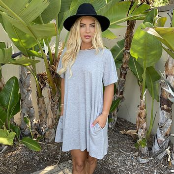 Passing By Heather Grey Short Sleeve Jersey Dress