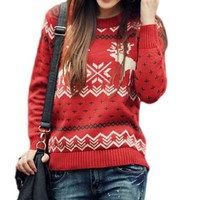 CHRISTMAS Sweater / Cardigan, with Various Lovely Patterns of Reindeer / Snowman / Snowflakes / Tree (L, Deer&Snowflake-Red)