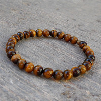 Prosperity, Genuine Tiger's Eye Gemstone Mala Bracelet