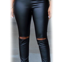 Black Faux Leather Cut-out Knee Leggings