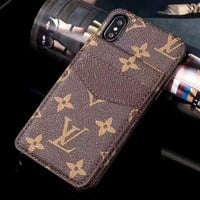 LV Tide brand card insertion simple and versatile iPhone8 mobile phone case