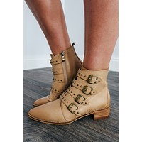 Buckle Up Booties: Tan