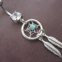 Dream Catcher Belly Button Ring- Turquoise Stone Dreamcatcher Feather Charm Dangle Navel Jewelry Piercing