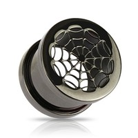 Blackline Titanium Anodized Over Surgical Steel Hollow Spider Web Screw-Fit Tunnel Plug