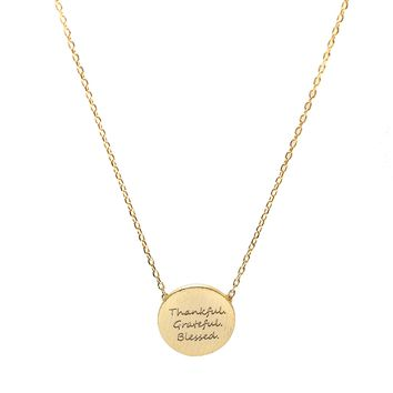 Handcrafted THANKFUL GRATEFUL BLESSED Script Necklace