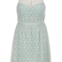 Plus Size - Floral Lace Overlay Dress - Sea Green Combo