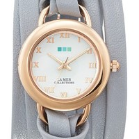 La Mer Collections 'Saturn' Leather Wrap Watch, 40mm | Nordstrom