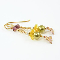 Bee Earrings Bumblebee Insect Green Pearl Yellow Flower Purple Crystal Dangle Fashion Jewelry