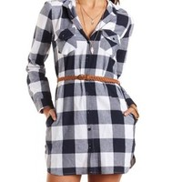 Belted Plaid Shirt Dress by Charlotte Russe - Navy Combo
