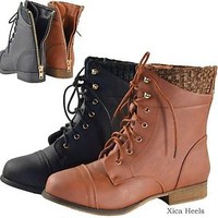 New Womens Combat Military Low Heel Boots Lace Up Knit Ankle Boot Shoes 6-10