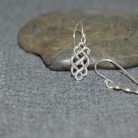 tiny celtic knot earrings, dainty sterling silver dangle, black silver oxidized, everyday simple jewelry gift for her, tiny sterling earring
