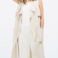 Beige Shirt Collar Pocket Detail Bow Belt Layered Waistcoat