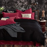 Classical solid colors bed linen black and burgundy red matched reversible duvet cover sets cotton bedding set single queen king