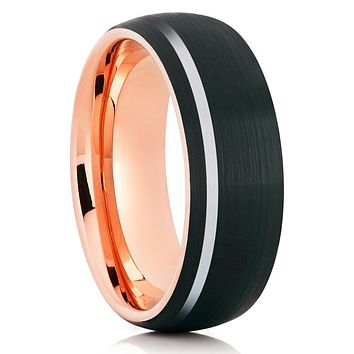 Rose Gold Tungsten - Black - Rose Gold Tungsten Band - Wedding Band