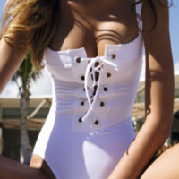 White Corset One-Piece Swimsuit