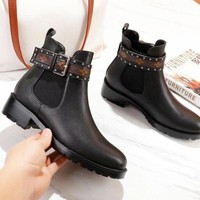Louis Vuitton LV High Quality Fashion New Monogram Leather Boots Shoes Women Black