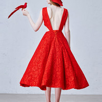 Red Stone Emebllished Cut Out Side Backless Lace Homecoming Dress